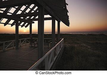 Gazebo at coast.