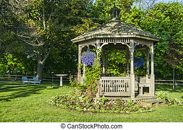 gazebo, con, flores del resorte