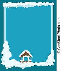 Gazebo Covered with Snow Winter Scene Illustration - Winter...