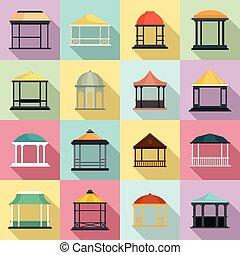 Gazebo icons set, flat style