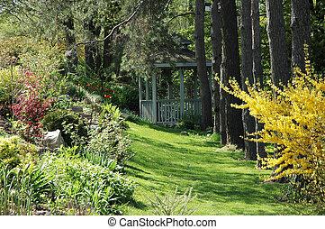 gazebo, in, kleingarten