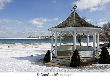 Gazebo in Winter Near Lake Ontario
