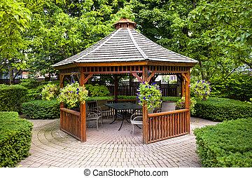 gazebo, jardin