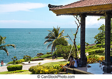 Gazebo near the temple with the ocean