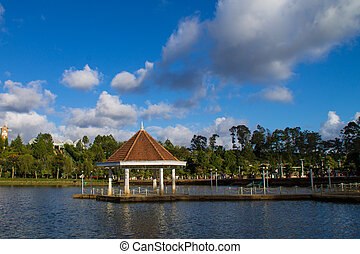 Gazebo on a small lake