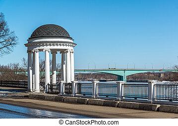 Gazebo on embankment of river Volga in Yaroslavl, Russia