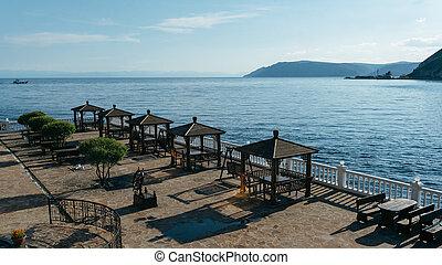 gazebo on the shore of Lake Baikal