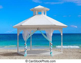 gazebo, på, den, strand.