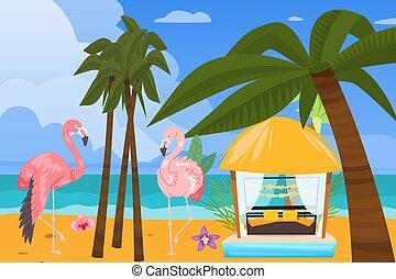 gazebo, plano de fondo, vacaciones, tropical, verano, vector...