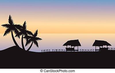 gazebo, rivage, océan coucher soleil