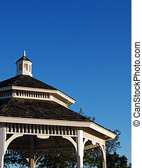 Gazebo roof and blue sky