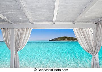 Gazebo white in Formentera Ibiza beach