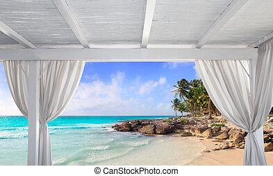 Gazebo white in tropical Caribbean beach