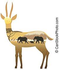 Gazelle Landscape - African landscape in silhouette of...