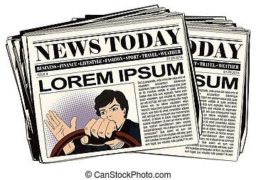 gazeta, article., wóz., napędowy, człowiek