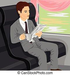 gazeta, biznesmen, pociąg, czytanie
