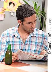 gazeta, czytanie, człowiek