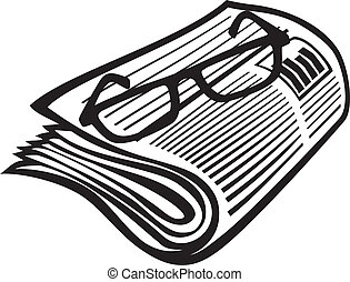 gazeta, czytanie, ikona, okulary