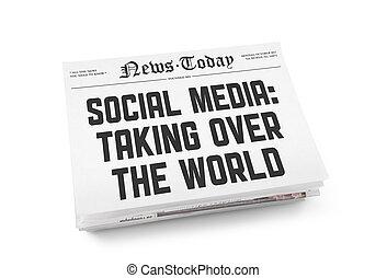 gazeta, media, pojęcie, towarzyski