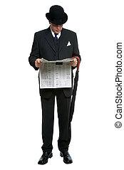 gazeta, miasto, dżentelmen, czytanie
