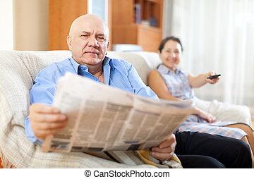 gazeta, para, dojrzały, razem