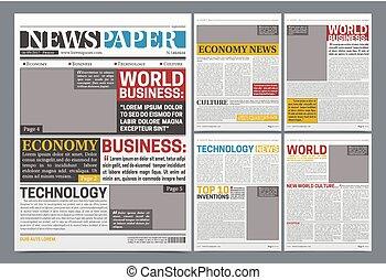 gazeta, realistyczny, online, szablon, afisz