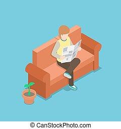 gazeta, sofa, czytanie, biznesmen
