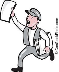 gazeta, sprzedajcie, odizolowany, newsboy, rysunek