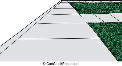 gazon, trottoir, herbe, isolé