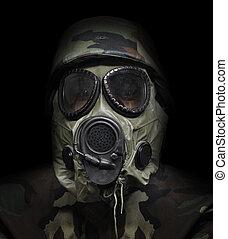 gazowa maska, żołnierz, czarne tło, wojna