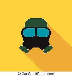 gazowa maska, ikona, płaski, styl