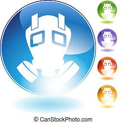 gazowa maska, kryształ, ikona
