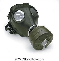 gazowa maska, na białym