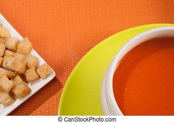 Gazpacho and croutons