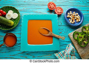 Gazpacho andaluz tomato soup and vegetables - Gazpacho...