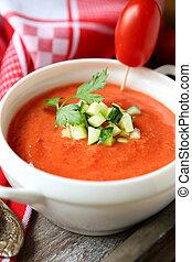 Gazpacho soup in a white tureen
