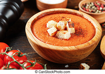 gazpacho soup on a wooden background