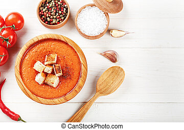gazpacho soup on white background