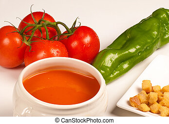 Gazpacho with ingredients