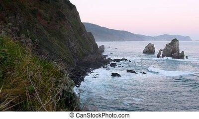 Gaztelugatxe ocean coastline - Ocean coastline in...
