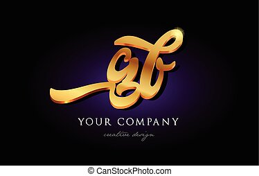 gb g b 3d gold golden alphabet letter metal logo icon design handwritten typography
