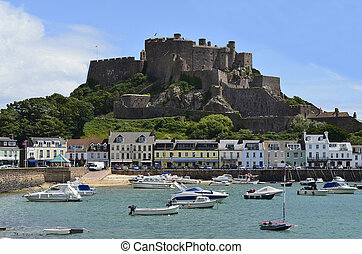 GB, Jersey - Village Gorey with harbour and Mont Orgueil...