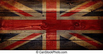GB Union Jack Flag on grunge wooden background - Grunge...
