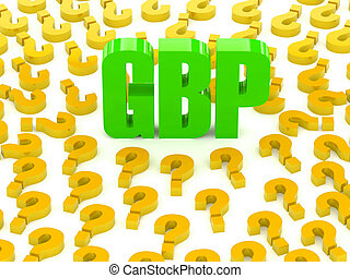 GBP sign surrounded by questions