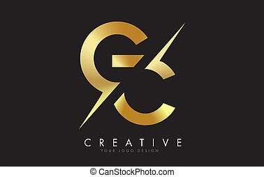 GC G C Golden Letter Logo Design with a Creative Cut. ...