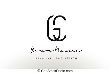 GC Letters Logo Design Slim. Creative Simple Black Letter...
