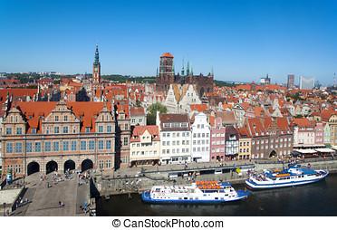 Gdansk, antigas, cidade,  panorama