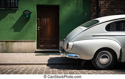gdansk, car, polônia, rua, retro, europe.