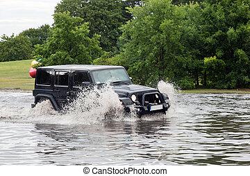 gdansk, car, poland., contra, conduzir, inundação, rua,...