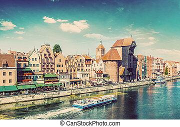 gdansk, cidade velha, e, famosos, guindaste, polaco, zuraw.,...